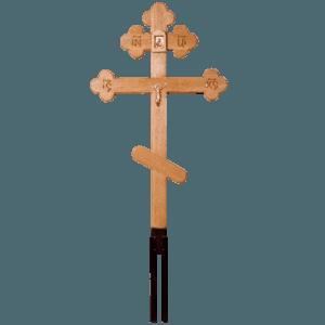 Крест деревянный дубовый восьмиконечный резной на металле